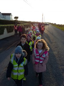 Pupils & Teaxchers walk to school together in the morning!